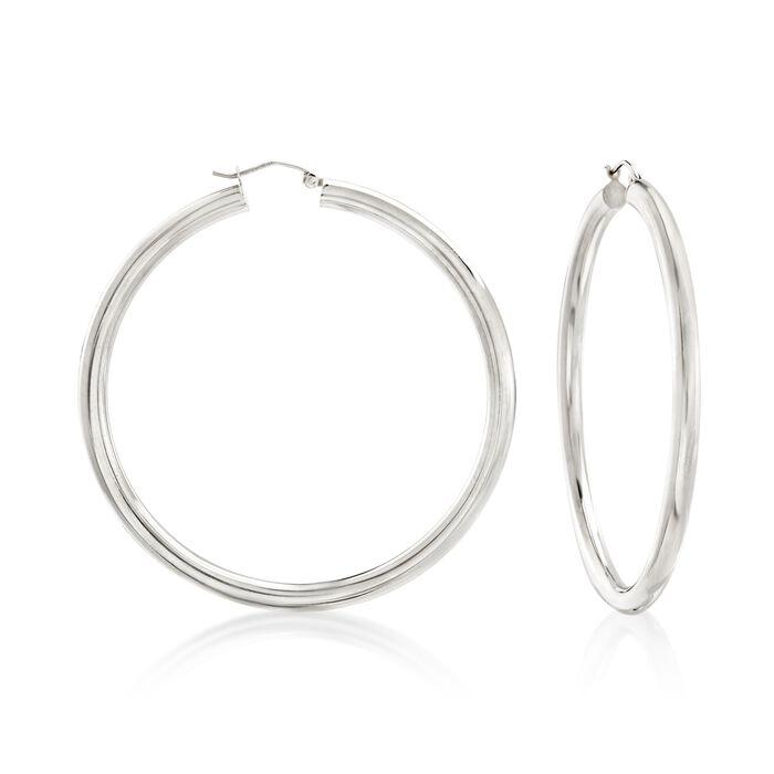 """4mm Sterling Silver Hoop Earrings. 2 3/8"""", , default"""