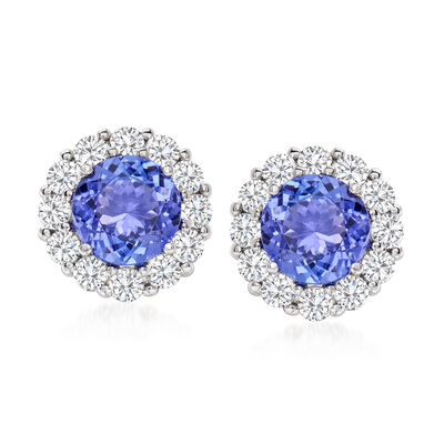5.00 ct. t.w. Tanzanite and 1.55 ct. t.w. Diamond Earrings in 14kt White Gold