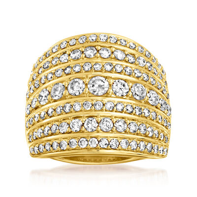 2.00 ct. t.w. Diamond Multi-Row Ring in 18kt Gold Over Sterling