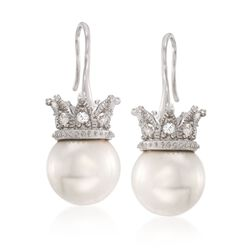 12mm Shell Pearl and .70 ct. t.w. White Topaz Crown Drop Earrings in Sterling Silver, , default