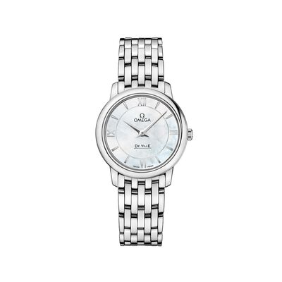 Omega De Ville Prestige Women's 27.4mm Stainless Steel Watch with Mother-Of-Pearl Dial, , default