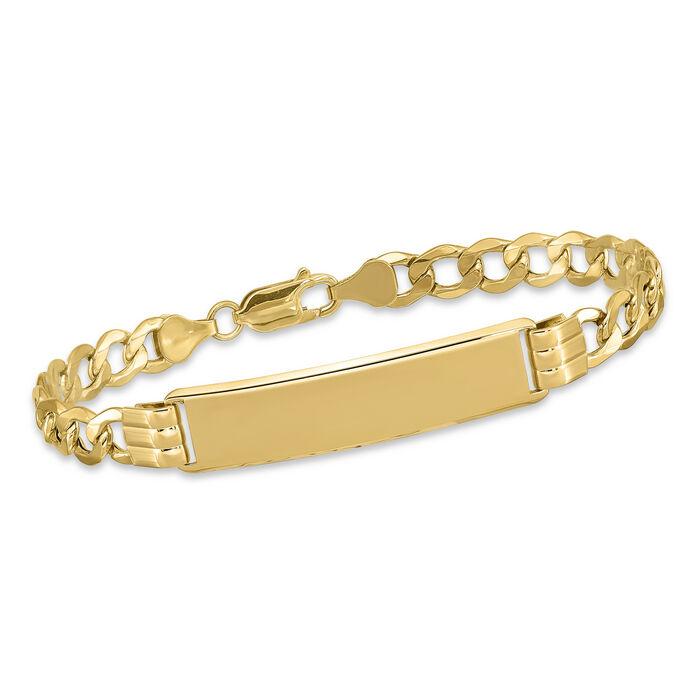 "Men's 14kt Yellow Gold Three-Initial Curb-Link ID Bracelet. 8"", , default"