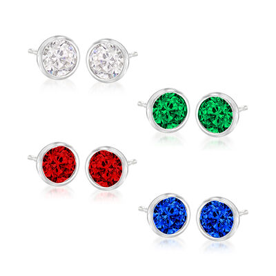 1.60 ct. t.w. CZ and 4.80 ct. t.w. Simulated Multi-Gemstone Jewelry Set: Four Pairs of Stud Earrings in Sterling Silver
