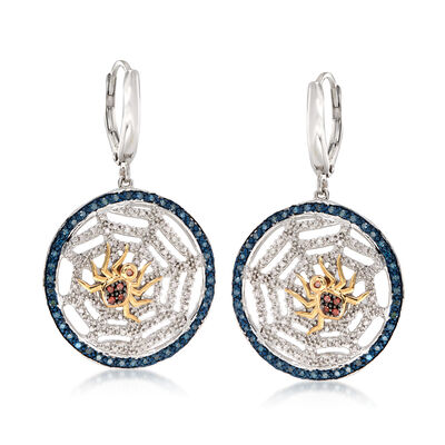 .51 ct. t.w. Multicolored Diamond Spider and Web Drop Earrings in Two-Tone Sterling Silver