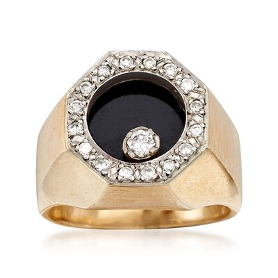 C. 1970 Vintage Black Onyx and .35 ct. t.w. Diamond Ring in 14kt Yellow Gold, , default