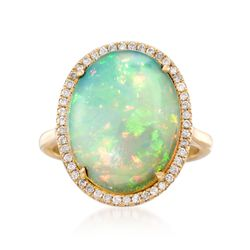 Opal and .25 ct. t.w. Diamond Ring in 14kt Yellow Gold, , default