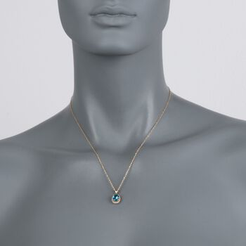 "2.00 Carat Blue Topaz Pendant Necklace in 14kt Yellow Gold. 18"", , default"