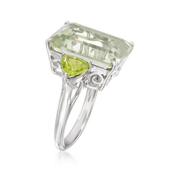 11.00 Carat Emerald-Cut Green Amethyst and 1.40 ct. t.w. Peridot Ring in Sterling Silver, , default