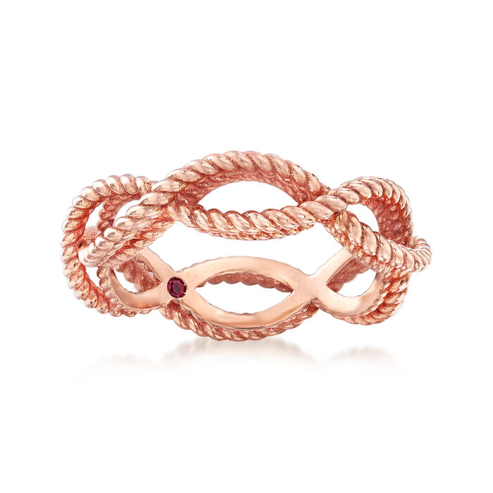 """Roberto Coin """"Barocco"""" Roped Ring in 18kt Rose Gold. Size 6.5, , default"""