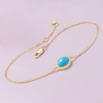 "Oval Sleeping Beauty Turquoise Roped Frame Bracelet in 14kt Yellow Gold. 7"", , default"
