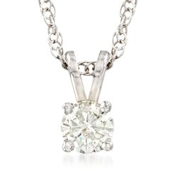 "C. 2000 Vintage .34 Carat Diamond Solitaire Necklace in 14kt White Gold. 18"", , default"