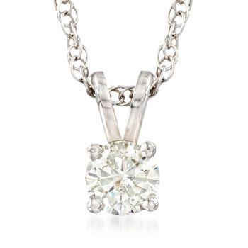 "C. 2000 Vintage .34 Carat Diamond Solitaire Necklace in 14kt White Gold. 18"", , default"