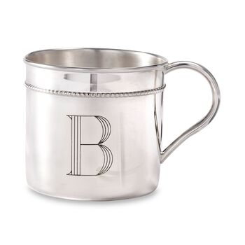 Sterling Silver Beaded Baby Cup, , default