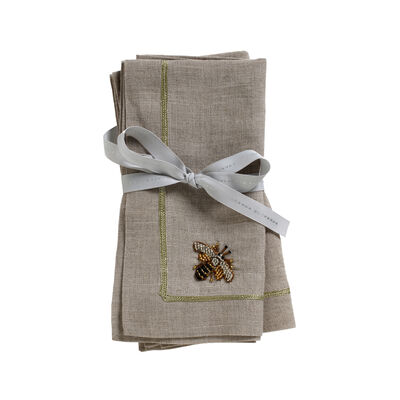 Joanna Buchanan Stripey Bee Flax Linen Dinner Napkins, , default
