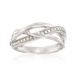 Sterling Silver Crisscross Ring With Diamond Accents, , default