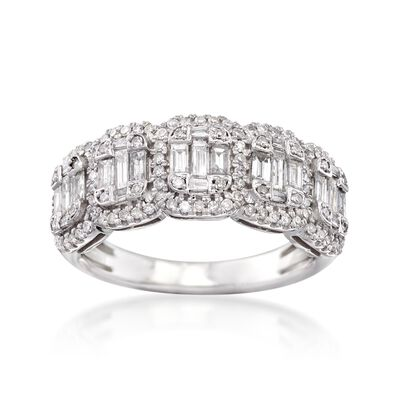 1.00 ct. t.w. Round and Baguette Diamond Ring in 14kt White Gold, , default