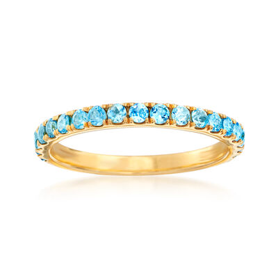 .60 ct. t.w. Swiss Blue Topaz Ring in 18kt Gold Over Sterling, , default