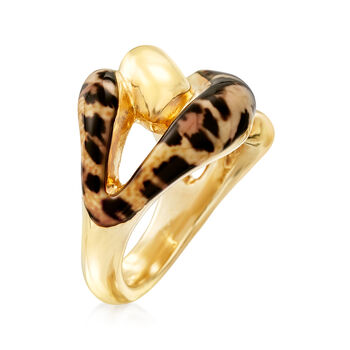 Italian Leopard-Print Enamel Link Ring in 18kt Gold Over Sterling
