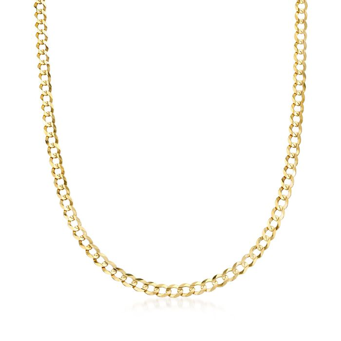Men's 5.7mm 14kt Yellow Gold Comfort Curb Chain Necklace