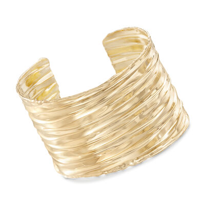 Italian 24kt Yellow Gold Over Sterling Silver Rippled Cuff Bracelet, , default