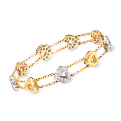 C. 1990 Vintage 1.10 ct. t.w. Diamond Heart Station Bracelet in 18kt Two-Tone Gold
