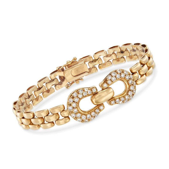 """C. 1980 Vintage 1.30 ct. t.w. Diamond Buckle Panther Link Bracelet in 14kt Yellow Gold. 7.25"""""""