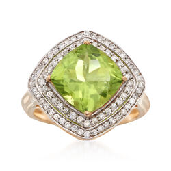 3.60 Carat Peridot and .41 ct. t.w. Diamond Ring in 14kt Yellow Gold, , default