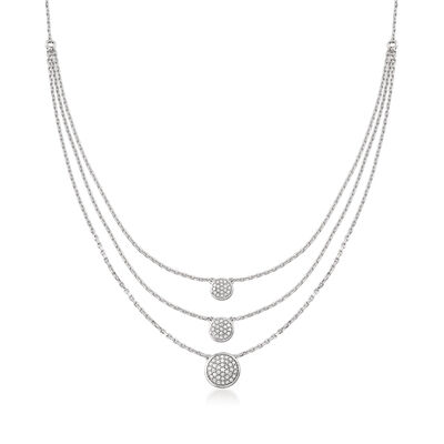 .50 ct. t.w. Pave Diamond Triple-Strand Necklace in Sterling Silver, , default