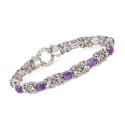 4.20 ct. t.w. Amethyst Byzantine Bracelet in Sterling Silver, , default