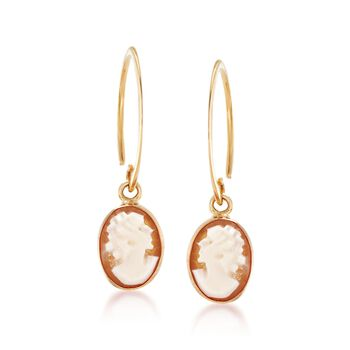 Oval Shell Cameo Drop Earrings in 14kt Yellow Gold , , default