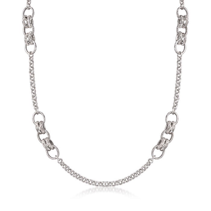 Italian Sterling Silver Long Mixed-Link Necklace