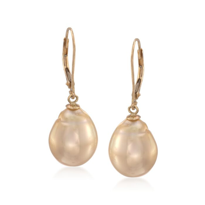 11-12mm Golden Cultured South Sea Pearl Drop Earrings in 14kt Yellow Gold
