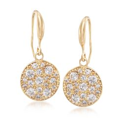 "Italian 1.50 ct. t.w. CZ Disc Earrings in 24kt Yellow Gold Over Sterling Silver. 1 1/8"", , default"