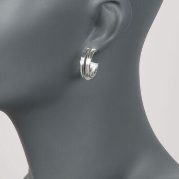 """Zina Sterling Silver """"Wired"""" Crisscross Hoop Earrings. 7/8"""", , default"""