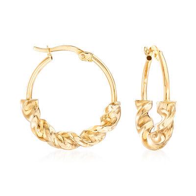 14kt Yellow Gold Twisted Hoop Earrings, , default
