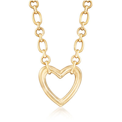 C. 1980 Vintage Van Cleef Heart Link Necklace in 18kt Yellow Gold, , default