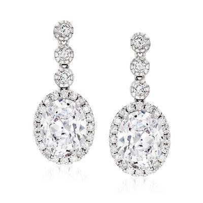 5.70 ct. t.w. CZ Drop Earrings in Sterling Silver