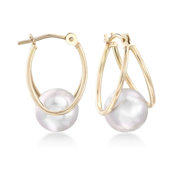 8-9mm Gray Cultured Pearl Double-Hoop Earrings in 14kt Yellow Gold. 3/4""