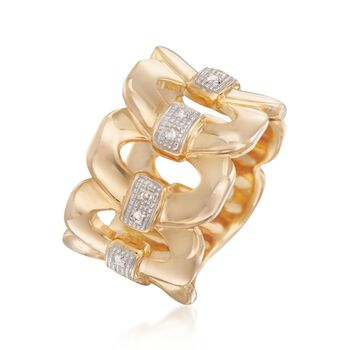 18kt Gold Over Sterling Silver Oval-Link Ring With Diamond Accents, , default