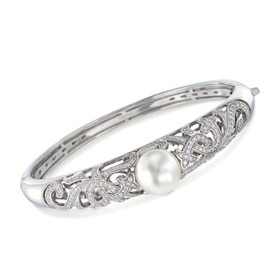 "Belle Etoile ""Fiona"" 12mm Simulated Pearl and 1.25 ct. t.w. CZ Bangle Bracelet in Sterling Silver, , default"