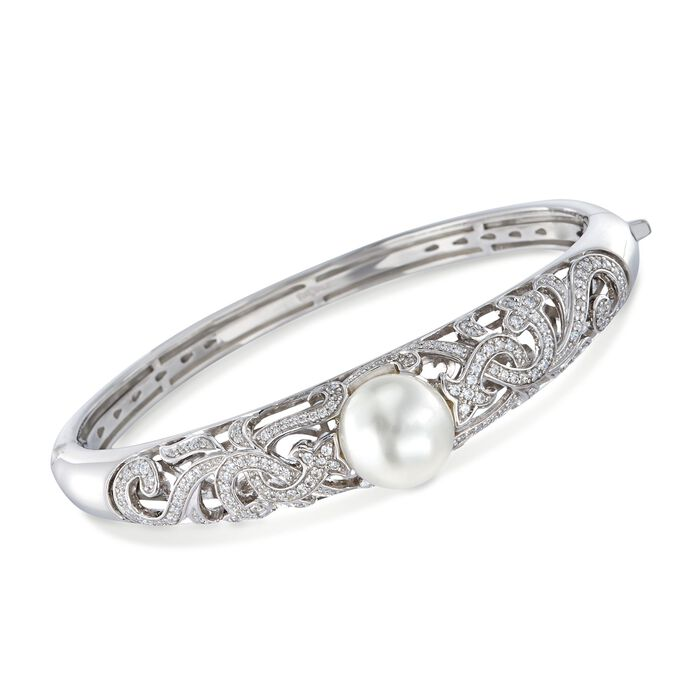 "Belle Etoile ""Fiona"" 12mm Simulated Pearl and 1.25 ct. t.w. CZ Bangle Bracelet in Sterling Silver. 7"", , default"