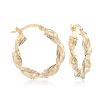 "Italian 14kt Yellow Gold Twisted Hoop Earrings With Silver Glitter. 7/8"", , default"