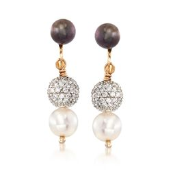 C. 1990 Vintage 6.5mm Black and White Cultured Pearl and 1.50 ct. t.w. Diamond Earrings in 14kt Yellow Gold, , default