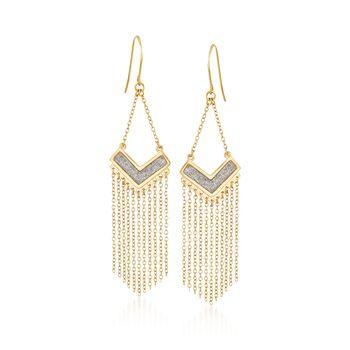 18kt Gold Over Sterling Chevron Fringe Earrings With Silvertone Glitter , , default