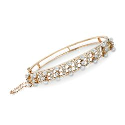 "C. 1940 Vintage 3mm Cultured Pearl and 1.00 ct. t.w. Diamond Bangle Bracelet in 14kt Yellow Gold. 7"", , default"