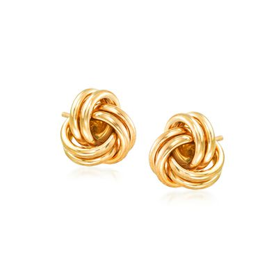 f5e28a5a1c0b 14kt Yellow Gold Love Knot Stud Earrings