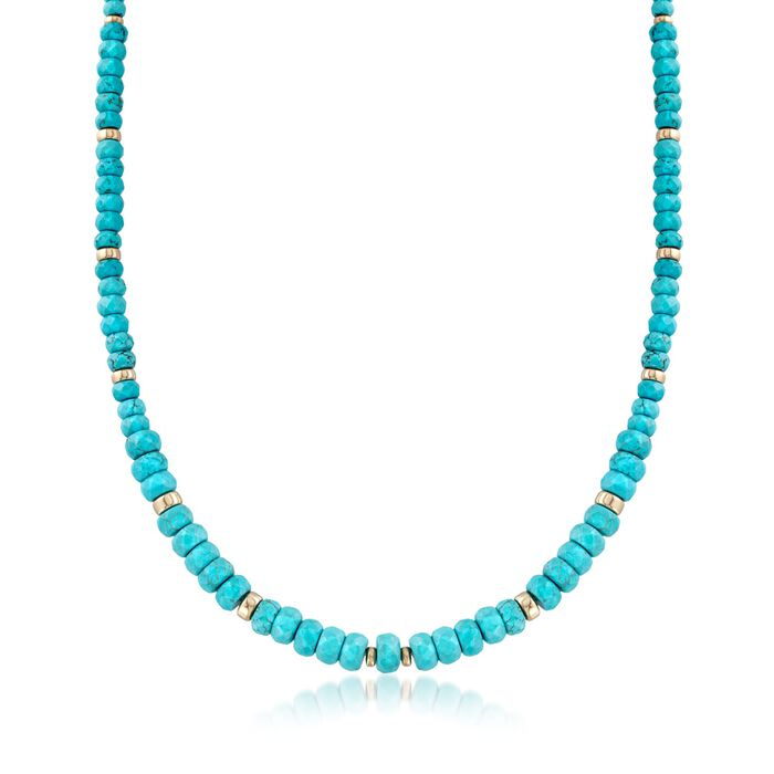 Graduated Blue Howlite Bead Necklace with 14kt Yellow Gold, , default