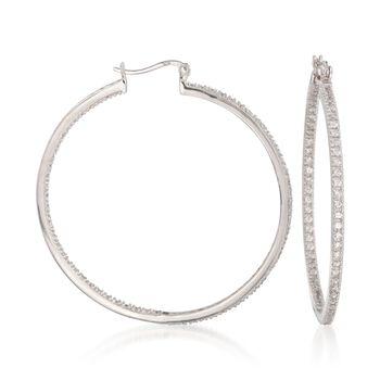 """2.00 ct. t.w. CZ Inside-Outside Large Hoop Earrings in Sterling Silver. 2"""", , default"""