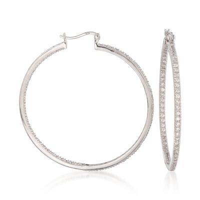 2.00 ct. t.w. CZ Inside-Outside Large Hoop Earrings in Sterling Silver, , default