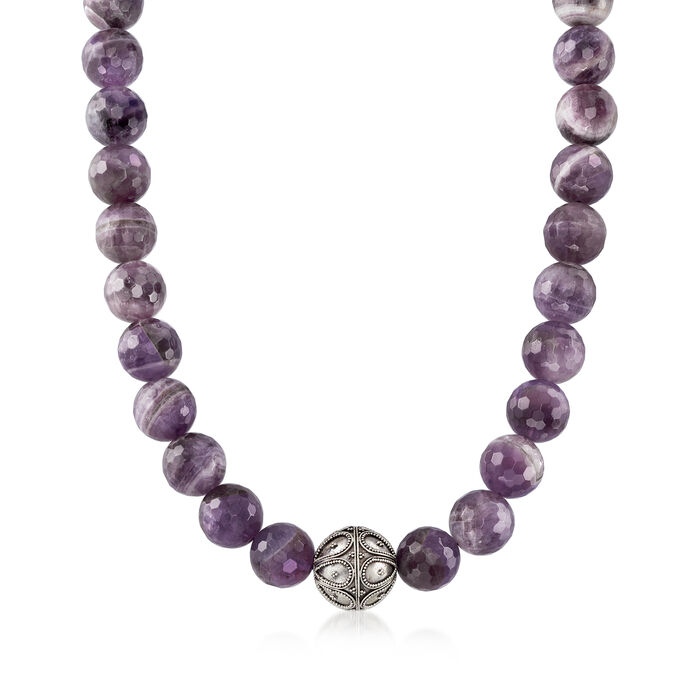 "720.00 Amethyst Bead Necklace with Sterling Silver. 18"", , default"